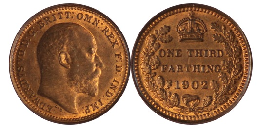 1902 GB & Ireland, bronze third-farthing