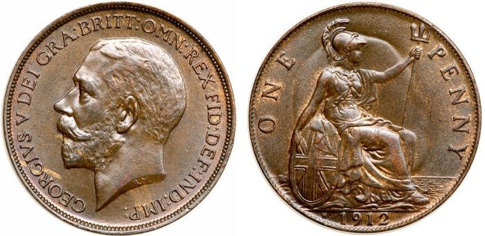 1912 GB Penny (Heaton Mint) showing 'ghosting' of the king's head on the reverse