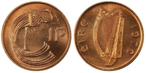 Ireland 1975 Bronze 1p, ex-King's Norton Collection