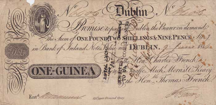 1814 (9 June) One Guinea promissory bank note, signed by Ffrench, Taaffe, Morris & Keeny
