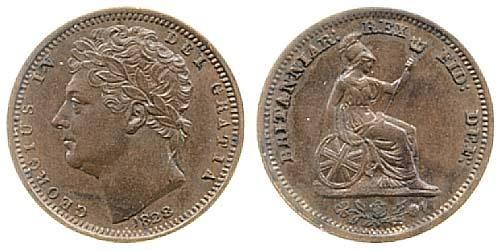 1828 GB & Ireland (George IV) Copper Half-Farthing