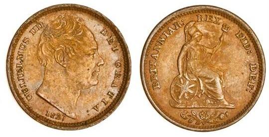 1837 GB & Ireland Copper Half-Farthing (William IV)