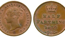 1839 GB & Ireland Copper Half-Farthing (Queen Victoria). Type 1 reverse.