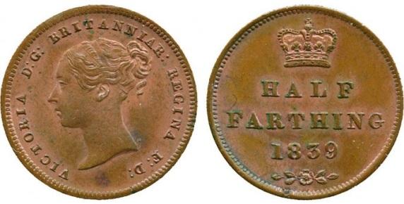 1839 GB & Ireland Copper Half-Farthing (Queen Victoria). Type 1 reverse.