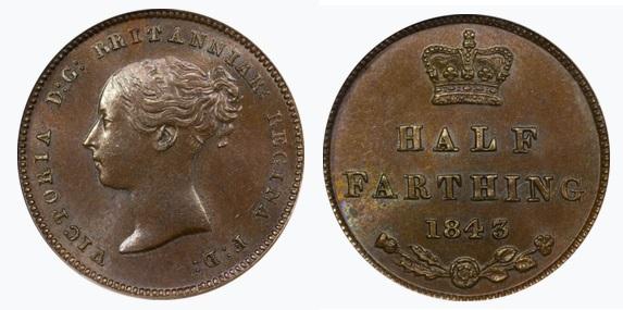 1843 Copper Half-Farthing (Queen Victoria)