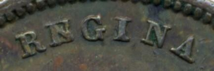 1844 Half Farthing, Obverse detail, showing E over N in REGINA variety