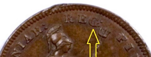 1844 third farthing - Large 'G' in REG