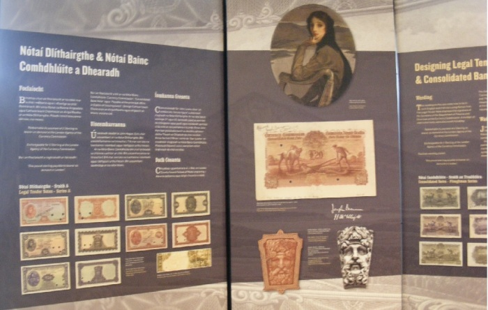 "A display from the Central Bank of Ireland's ""Pounds, Shillings & Independence"" exhibition at their new Visitor Centre, North Wall Quay, Dublin"