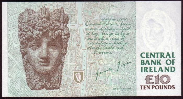"By the time the ""C Series"" James Joyce £10 banknote actually went into circulation, the reverse design was unrecognisable from the two earliest formats i the Central Bank of Ireland's Archive."