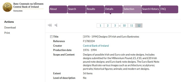 "Searching the new Central Bank of Ireland Archive ""online catalogue"" is easy and this is an example of a search for ""banknote design"""