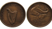 1927 Morbiducci pattern florin in bronze - only 4 known. Extremely rare. The Old Currency Exchange, Dublin, Ireland