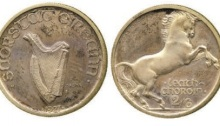1927 Morbiducci pattern, halfcrown (silver). Rare Irish coin. Old Currency Exchange, Dublin, Ireland. Best Irish coin dealer