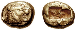 Early 6th century BC Lydian electrum coin (one-third stater denomination)