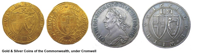 Gold & silver coins of the Commonwealth under Cromwell. Irish coin dealer, Old Currency Exchange, Dublin, Ireland.