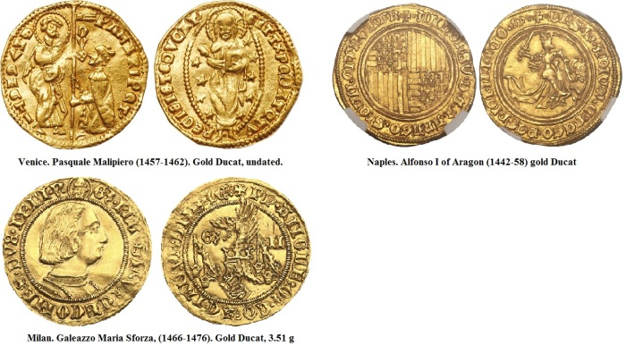 15th C gold ducats of various Italian States - some with French rulers