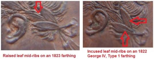 1822/23 George IV Farthing, Type 1 (raised & incuse leaf mid-ribs varieties)