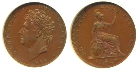 1826 GB & Ireland Farthing - Type II (couped, laureate bust)