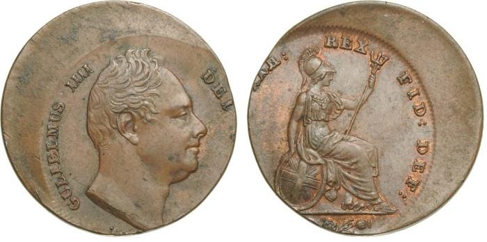 1830-37 GB & Ireland copper farthing (William IV) struck off centre (date off flan)