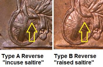 1831-37 GB & Ireland copper farthing (William IV) type A & B reverse