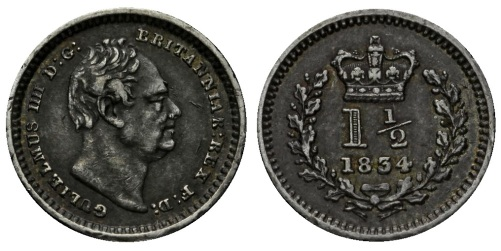 1834 William IV silver three-halfpence