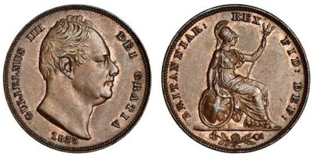 1835 GB & Ireland copper farthing (William IV)