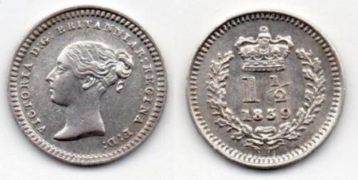 1839 Victoria silver three-halfpence