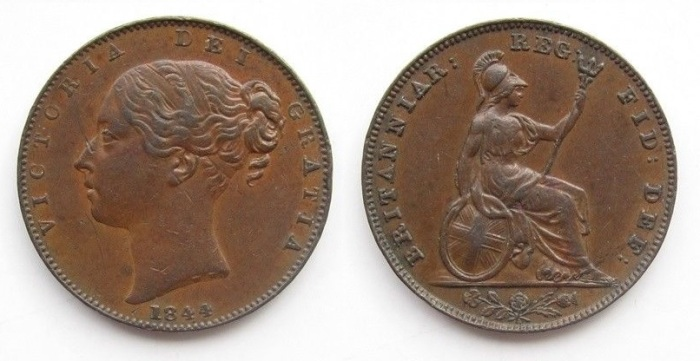 1844 GB & Ireland copper farthing (Victoria)