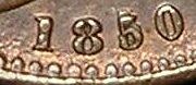 1850 GB & Ireland copper farthing (Victoria) - 5 over 5 in date variety