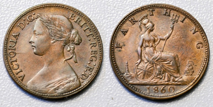 GB & Ireland bronze farthing (Victoria, Bun Head) - Type 1