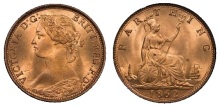 1862 GB & Ireland bronze farthing (Victoria, Bun Head) uncirculated