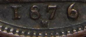 1876 GB & Ireland bronze farthing - Large 6 date variety
