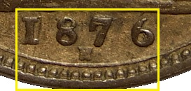 1876 GB & Ireland bronze farthing - very wide date variety (13 beads)