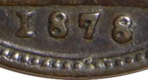 1878 GB & Ireland bronze farthing - Low 8 date variety