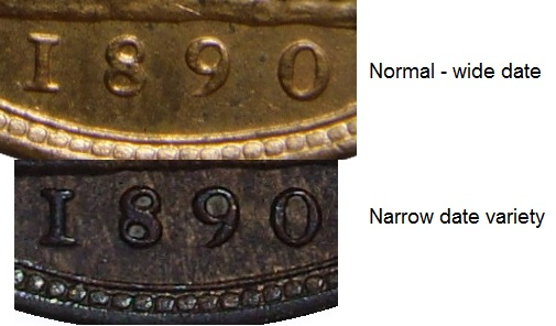 1890 GB & Ireland bronze farthing - Narrow date variety