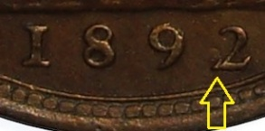 1892 GB & Ireland bronze farthing - 2 over 2 date variety