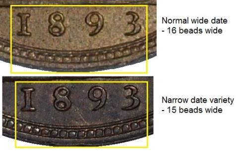 1893 GB & Ireland bronze farthing - Narrow date variety