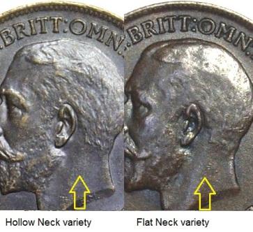 1911 GB & Ireland bronze farthing (George V, Hollow Neck & Flat Neck varieties)