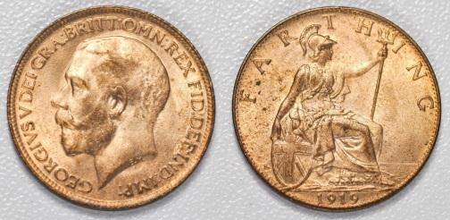 1919 GB & Ireland bronze farthing (George V, Type 1 Obverse)