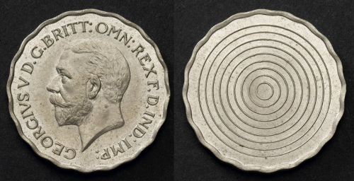 1936 GB & Ireland Threepence (Uniface Trial, in cupro-nickel)