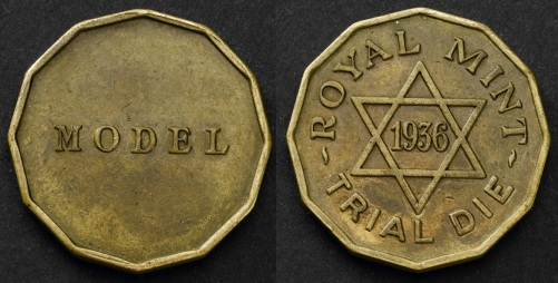 1936 GB & Ireland Threepence (Uniface Trial, nickel-brass)