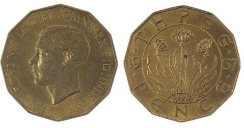 1937 GB & Ireland Pattern Threepence (Edward VIII), with Type 1 reverse (split date)