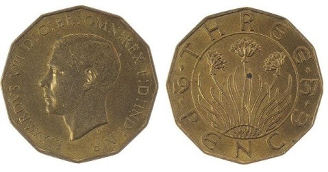 1937 GB & Ireland Pattern Threepence (Edward VIII), with Type 1 reverse (split date)