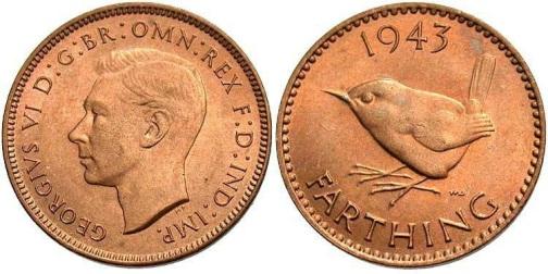 1943 GB & Ireland bronze farthing (George VI)