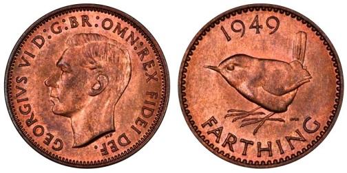 1949 GB & Ireland bronze farthing (George VI,Type 2 obverse)