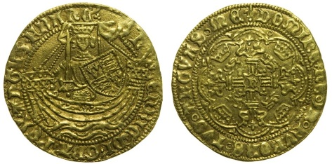 Henry VI Gold Half Noble, London Mint, 3.47g 26.6mm