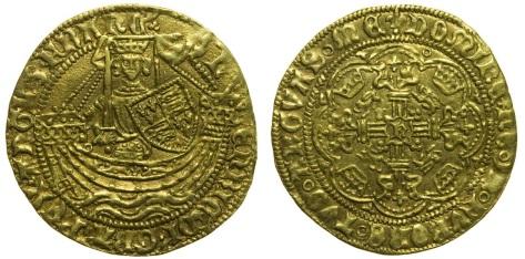 Henry VI Gold Half Noble, London Mint, 3.47g 26.6mm