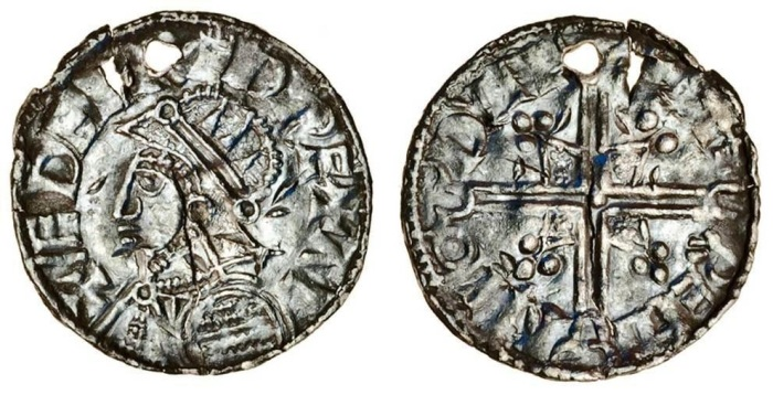 Hiberno-Norse, imitation Penny in the name of Aethelred (978-1016), Helmet type, 0.92g, Dublin, Faremin, armoured bust, (S.6115), very rare.