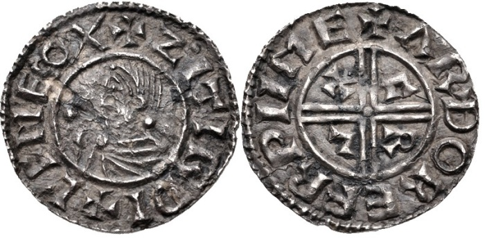 Hiberno-Norse. Sihtric III Olafsson. 995-1036. AR Penny (20mm, 1.49 g). Phase I coinage, Crux type. Eoferwic (York) mint signature
