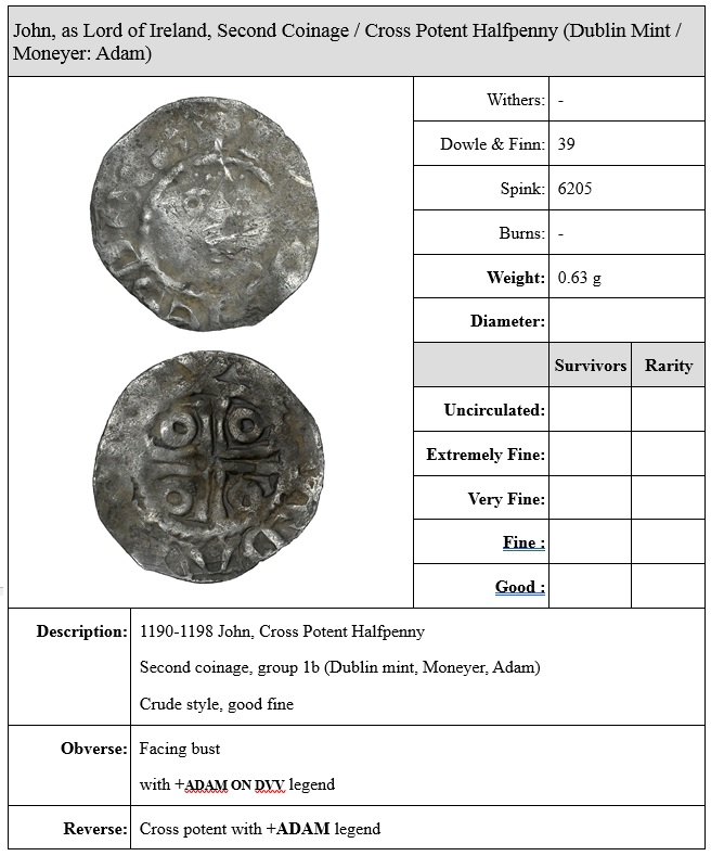 John (as Lord, 1172-1199), Second coinage, Halfpenny, type Ib, Dublin, Adam, adam on dvv, 0.63g (S 6205, DF 39). The Old Currency Exchange, Dublin, Ireland