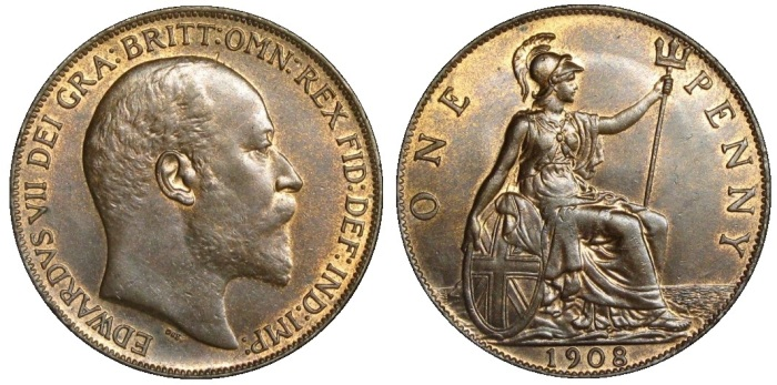 1908 GB & Ireland bronze penny (Edward VII)